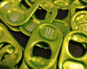 UPCYCLE! 50 Green Monster Can Tabs/Pop Top Tabs/Upcycled Crafting Supplies/Going Green/Mixed Media/Craft Supplies/Jewelry Making