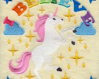 I believe in unicorns embroidered hand towel /teatowel/floursack towel