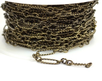 Etched Figaro Chain - Antique Brass - CH123 - Choose Your Length