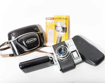 Voigtländer Vitrona Camera 35mm Film 1960s Leather Case Flash Trigger Grip and Case with Manual