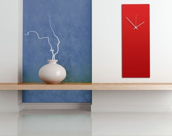 Redout White Clock - Large | Modern Metal Wall Clock, Minimalist Red & White