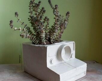 Planteur de caméra #3 - Vintage Photography, ciment béton décoration rétro, plantes succulentes de hipster, chic, salon de jardin