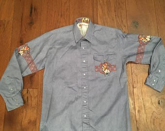 Looney Tunes Southwest Western Design Denim Button up Shirt yo9mzHJ