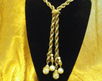 Gold Tone Slide Pearl Tassel Necklace