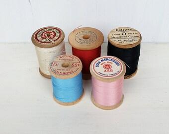 Vintage Wooden Thread Spools, Lot of 5