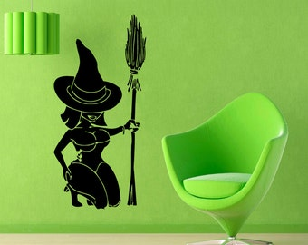 Halloween Wall Decals Woman Witch With Broom Vinyl Sticker Interior Design Living Room Home Decor Wall Art Kid Nursery Room Decor KG219