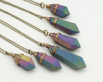 Dark Rainbow Aura Quartz Necklace Bronze Matte Raw Crystal Point Rough Titanium Quartz Healing Crystal Pendant Boho Gemstone Layer Necklace