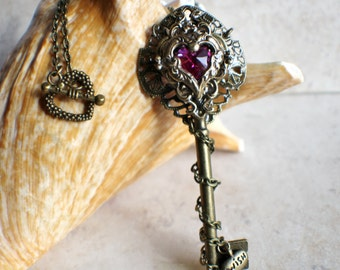 Victorian Skeleton Key Pendant, Crystal Heart Key Pendant, Fantasy Key, Goth Key Necklace, Heart Jewlery
