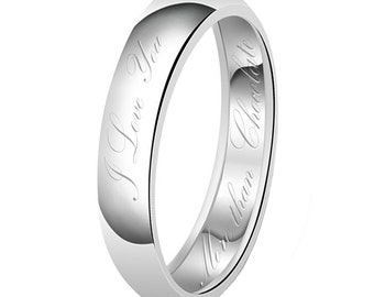 5mm I Love You More than Chocloate Engraved Classic Sterling Silver Plain Wedding Band Ring 33tiojG