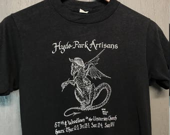 XS thin vintage 80s 1983 Hyde Park Chicago artisans t shirt * art dragon