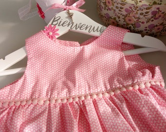 Baby dress with headband and matching shoes Bubblegum pink and white cotton