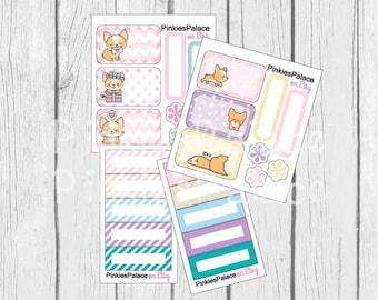 Corgi Planner Stickers Mini Kit Half Box Skinny Stickers Pastel Colors PS449