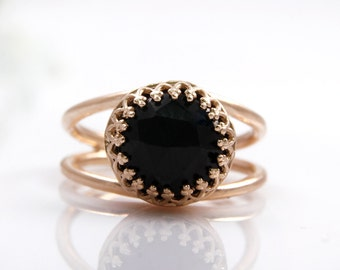 MOTHER'S DAY SALE - Black onyx ring,rose gold ring,pink gold ring,everyday ring,black diamond ring,faceted gemstone ring