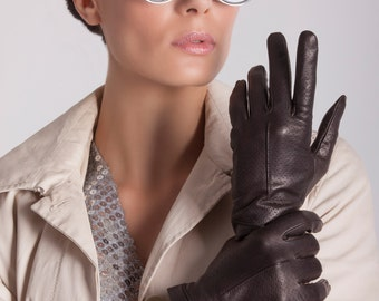 Leather Gloves Italy Women Leather Gloves Dress Gloves Winter Gloves Italian Leather Gloves Fashionable Gloves Silk Lined Gloves // Ameek