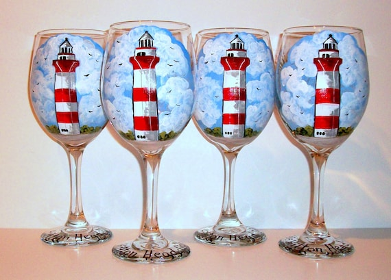 hilton head lighthouses hand painted wine glasses painted wine