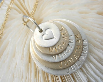 Family Stacked Necklace - Hand Stamped Necklace - Engraved Name Necklace
