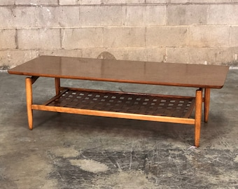 Lane Mid-Century Modern Coffee Table Weaved Veneer Bottom Shelf / Floating Top Design - SHIPPING NOT INCLUDED