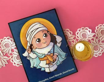 SMALL LAMINATED FRAME Baby Zarathushtra - The parsi prophet - Kids room art - 5 inches * 7 inches. Zoroaster photo frame.