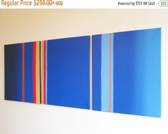"extra large wall art  triptych huge triptych hanging ""Linear Blue"" oversized art huge canvas art 3 panel three panel wall decor triptyque"