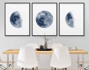 Moon Phase Print Set of 3 Watercolor Prints Celestial Bedroom Wall Decor Wall Art Luna Blue Indigo Lunar Phases Home Decor Moon Printable