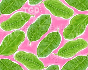 Banana Leaf Print digital paper, banana leaf watercolor digital paper, pink and green, scrapbook paper, instant download, preppy paper