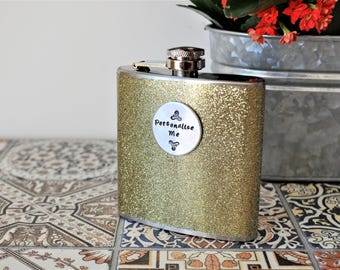 GLITTER GOLD PERSONALISED Hip Flask