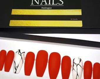 ORANGE RULES | Matte Press on Nails Marble | Coffin Nails | Matte Nails | Glue On Nails | Stick on Nails | Fake Nails | Orange Coffin Nails