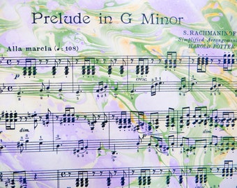 Prelude in Lavender - handmade marbled sheet music