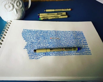 Custom Typography Print. Custom Handwritten print. Custom Art.  Custom State Art.  Custom Artwork.Custom Wall Art. Custom Unique Gift