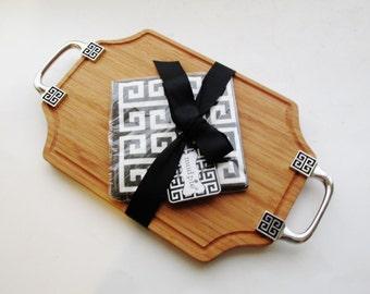 Greek Key Cheese Board, Wood Cutting Board, Mud Pie, Palm Beach Decor, Hollywood Regency