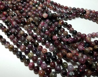 Watermelon Tourmaline Round Ball Beads 6mm