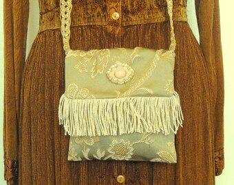Small bohemian purse, evening bag, green and cream bag, fringed bag