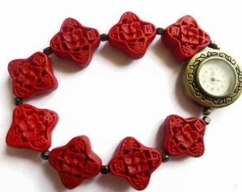 Red beaded watch, trendy watch, ladies bracelet watch, stretch fashion watch, silver digital wrist watch, bangle watch bracelet, dress watch