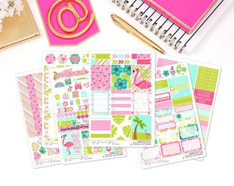 FLAMINGO DAYS Weekly Planner Kit, Tropical Planner Stickers, Summer Stickers - for use in Erin Condren , Happy Planner