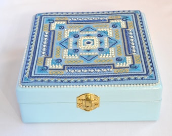 Medium jewelry keepsake box Jewellery storage Handmade embroidered Blue decorative storage organizer Treasure Trinket box Women jewelry box