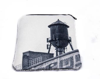 Water Tower wallet, landmark of Montreal, Rosemont, print on canvas, black and white