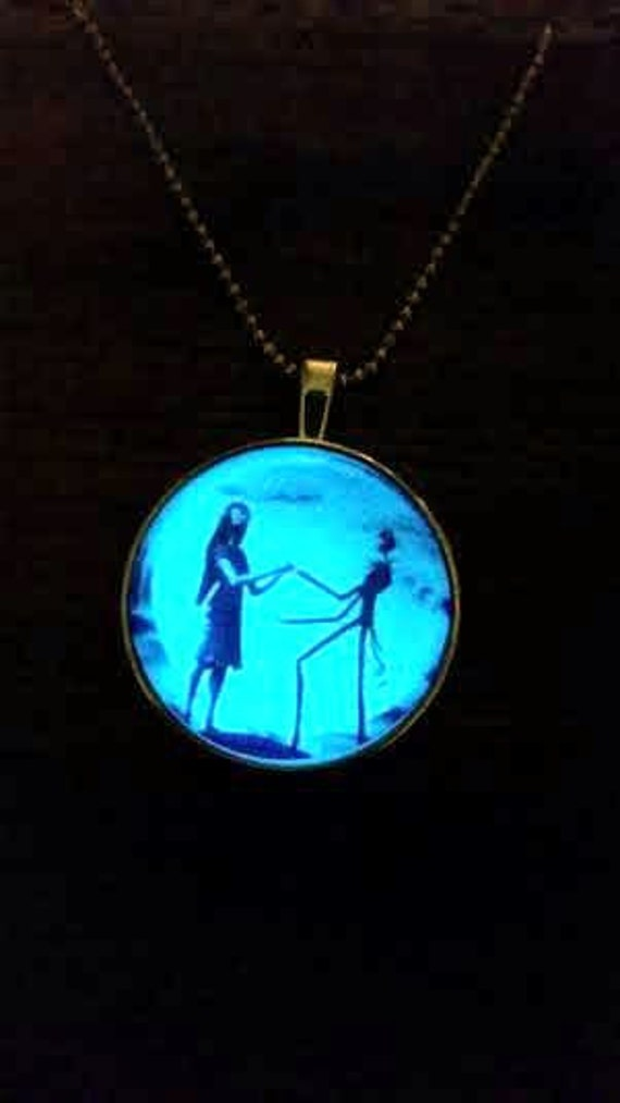 Sally and Jack Glow in the Dark Necklace, Nightmare Halloween Before Christmas Necklace, Skellington Necklace, Glowing Pendant, Couples Gift