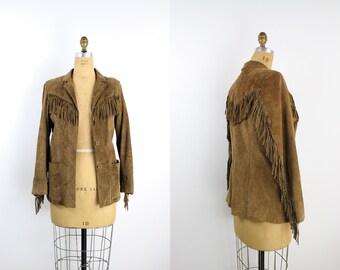 70s Leather Fringe Jacket / Brown Leather Jacket / Fringe / Suede Jacket / Boho / Size S/M
