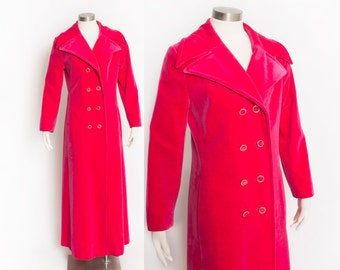Vintage 1960s Coat - FUSCHIA Pink VELVET Double Breasted Overcoat 70s - Small