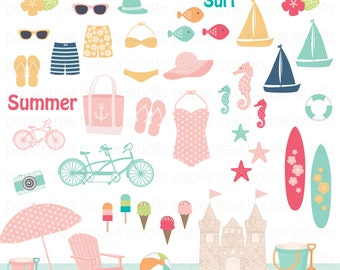 Beach Clip Art. Vacation Clipart. Summer Clipart. Surf Clipart. Sailboat Clipart. Bicycle Clipart. JPG and PNG Files. Beach Digital Download