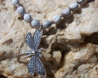 "Dragon Fly & Job's tears beaded Necklace Up to 30"" length"