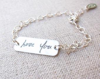 ACTUAL Handwriting ID Bracelet - Memorial Jewelry -  Personalized Bracelet - Handwriting Jewelry