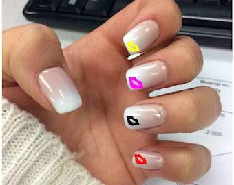 Nails, nail kiss sticker decal, vinyl, love, nail art.