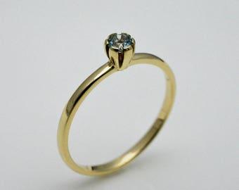 Ring gold with aquamarine, 14k gold