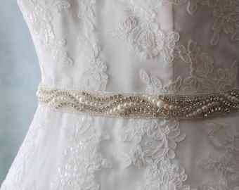 Bridal Sash Belt , Wedding Sash Belt , Heirloom Crystal Rhinestone Sash Belt , pearl Wedding Sash , Bridal Belt , Bridal Sash