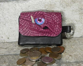 Zippered Coin Purse Pink Black Leather Change Purse Monster Face Pouch Key Ring Harry Potter Labyrinth 35