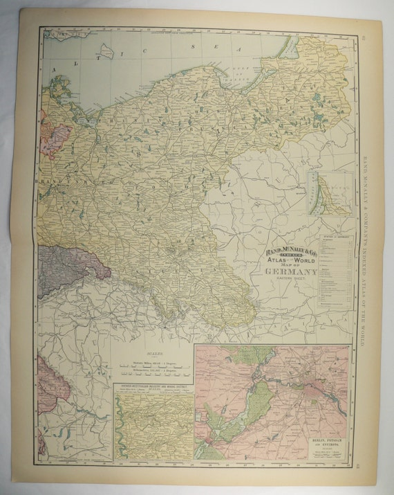 east germany map 1896 large map berlin potsdam vintage art