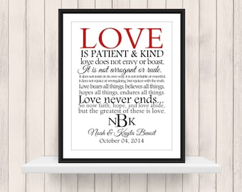 Love is Patient & Kind 1 Corinthians 13 Print Digital Download PDF