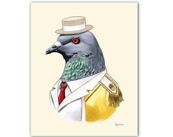 Pigeon art print 5x7