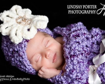 Little DIVA Hat Cocoon Baby Set Photo Prop in Purple - Phography Newborn Baby Set 2 pcs